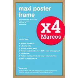 Pack de 4 Marcos Roble para Maxi Posters 61x91,5 cms