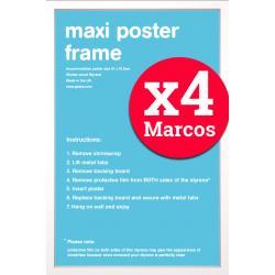 Pack de 4 Marcos Blancos para Maxi Posters 61x91,5 cms
