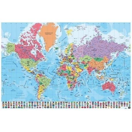 Poster Mapa Mundo Pt Fisico Politico