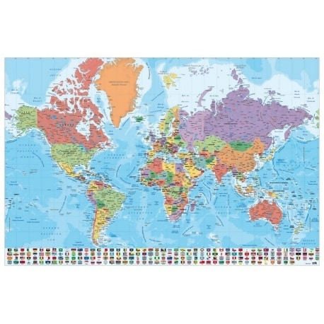 Poster Mapa Mundo Es Fisico Politico