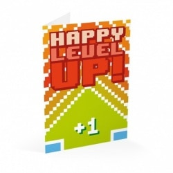 Tarjeta Felicitacion Gamer Happy Level Up