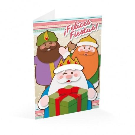 Tarjeta Felicitacion Reyes Magos Y Papa Noel