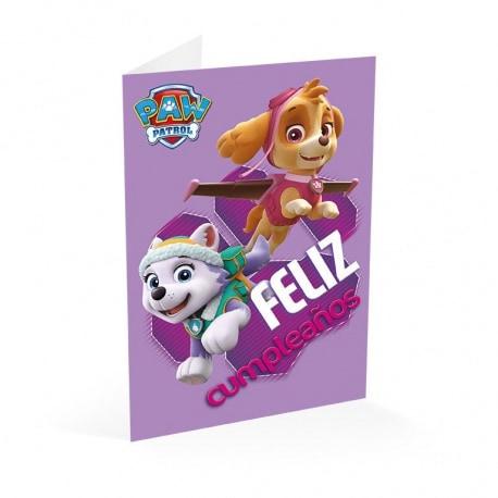 Tarjeta Felicitacion La Patrulla Canina Feliz Cumpleaños Niña