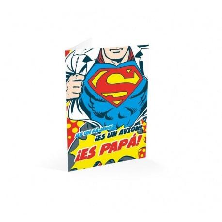 Tarjeta Felicitacion A4 Superman Papa