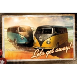 Poster VW Camper Lets Get Away