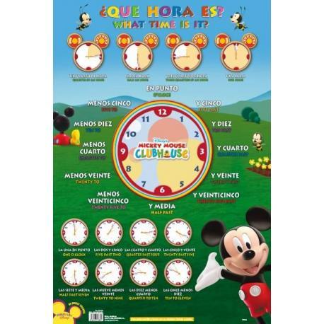 Lámina Educativa ¿Que Hora Es? Mickey Club House