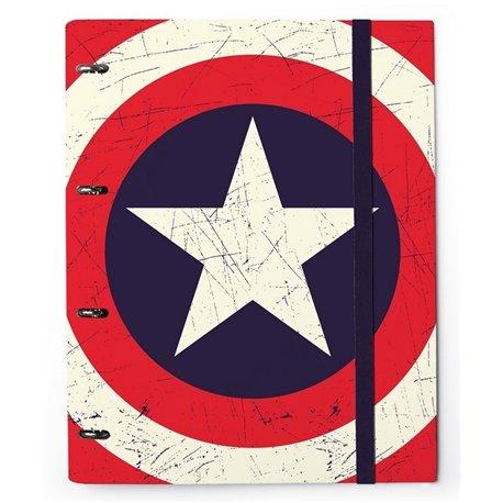 Carpeta 4 Anillas troquelada Capitán América