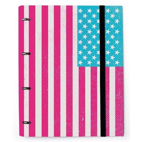 Carpeta 4 Anillas Troquelada Premium Bandera USA