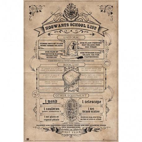 Poster Harry Potter Lista Escolar de Hogwarts