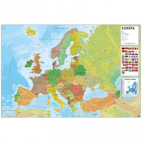 Maxi Poster Mapa de Europa Fisico Politico (italiano)