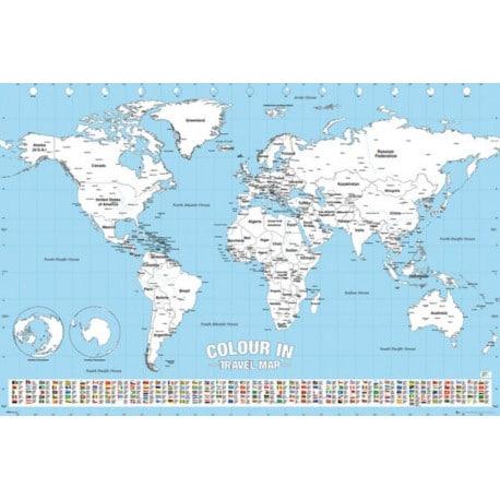 Poster Mapa Mundo para Colorear
