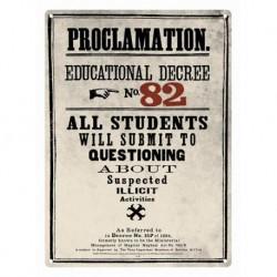 Placa metálica pequeña Harry Potter (Decreto 82)