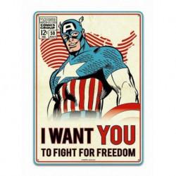 Placa metálica pequeña Marvel (Capitán América)
