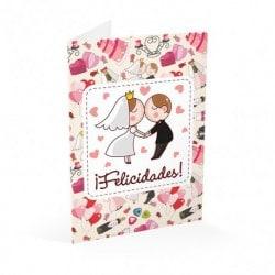 Tarjeta Felicitacion A4 Boda Felicidades