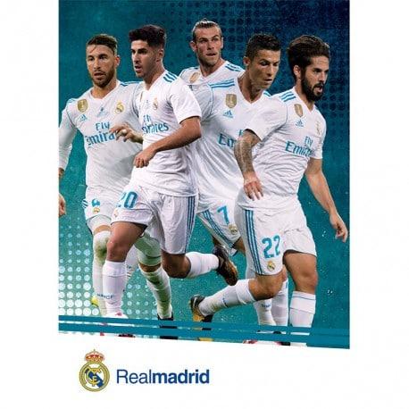 Postal Real Madrid A4 2017/2018 Varios Jugadores Accion