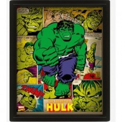 Poster Enmarcado 3D Marvel Retro Hulk