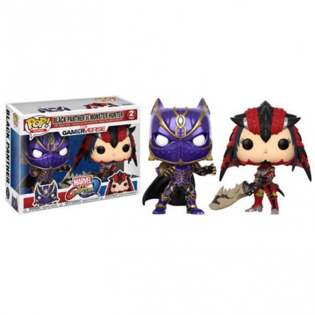 Figura Pop 2 Pack Capcom Vs Marvel Black Panther Vs Monster Hunter - 9 cm