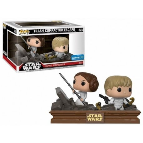 Figura Pop 2 Pack Star Wars Movie Moments Luke And Leia Trash Compactor - 9 cm