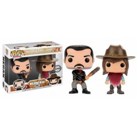 Figura Pop 2 Pack The Walking Dead Negan And Carl - 9 cm