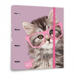 Carpeta 4 Anillas Troquelada Premium Studio Pets Cat Glasses