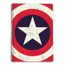 Cuaderno Tapa Dura A4 Pautado Marvel Captain America Shield