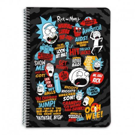 Cuaderno Tapa Dura A5 5X5 Rick & Morty