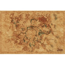 Poster The Legend Of Zelda Breath Of The Wild Hyrule World Map