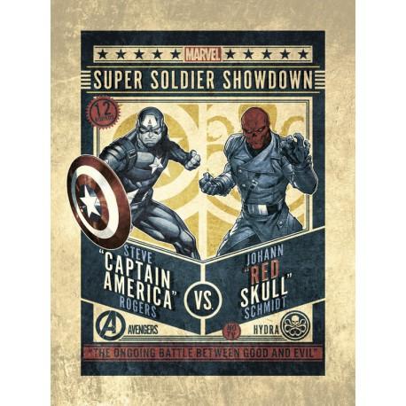 Lámina 30X40 Cm Marvel Comics Captain America Vs Red Skull