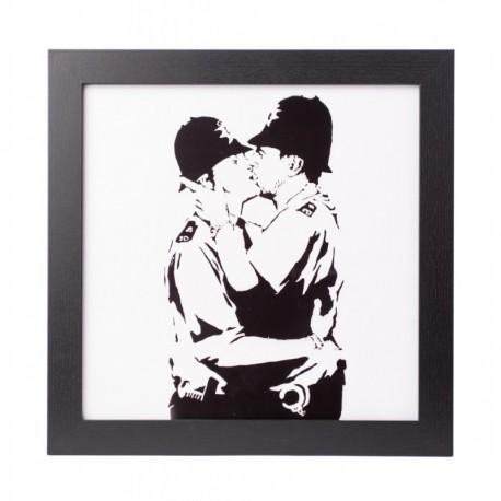 Lámina Enmarcada 30X30 Cm Banksy Bobbies Kissing