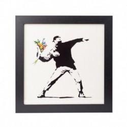 Lámina Enmarcada 30X30 Cm Banksy Flower Bomber