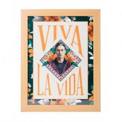 Lámina Enmarcada 30X40 Cm Frida Kahlo Viva La Vida