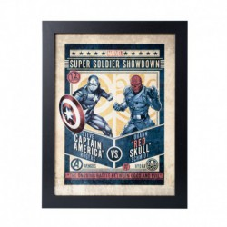 Lámina Enmarcada 30X40 Cm Marvel Comics Captain America Vs Red Skull