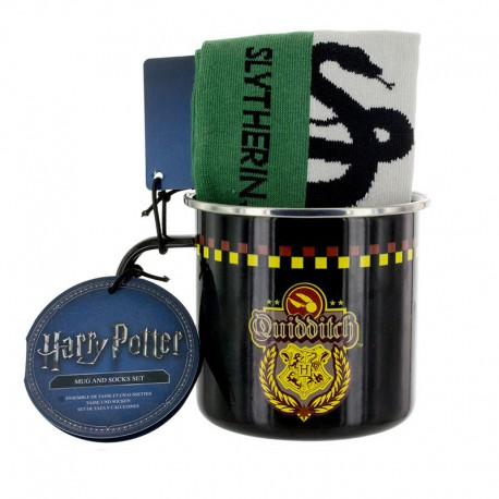 Set Taza Y Calcetines Harry Potter Slytherin Quidditch