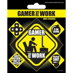 Sticker Vinilo Gamer At Work