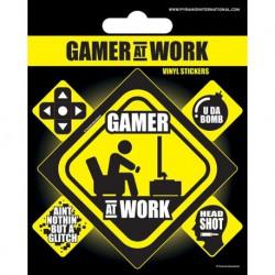 Sticker Vinilo Gamer At Work
