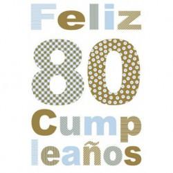 Tarjeta Felicitacion Feliz Cumpleaños 80