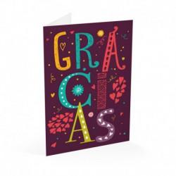 Tarjeta Felicitacion Gracias Letters