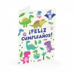 Tarjeta Felicitacion Cumple Dino