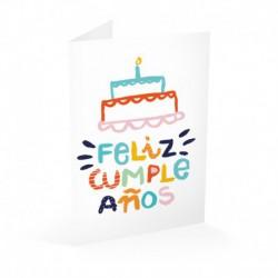 Tarjeta Felicitacion Tarta Feliz Cumpleaños