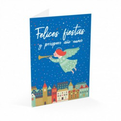 Tarjeta Felicitacion Felices Fiestas Angel