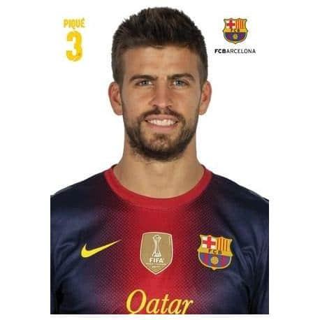 Postal A4 F.C. Barcelona Gerard Pique 2012