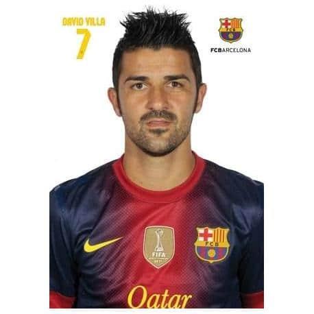 Postal A4 F.C. Barcelona David Villa 2012