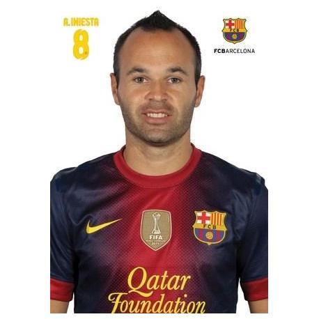 Postal A4 F.C. Barcelona Andres Iniesta 2012