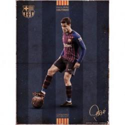 Print 30X40 Cm Fc Barcelona Coutinho Vintage