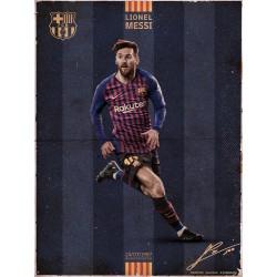 Print 30X40 Cm Fc Barcelona Messi Vintage