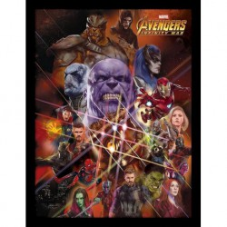 Print Enmarcado 30X40 Marvel Avengers Infinity War Gauntlet Characters