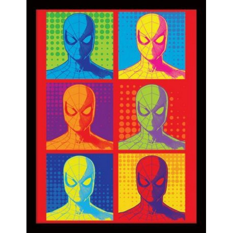 Print Enmarcado 30X40 Marvel Spiderman Homecoming Pop Art