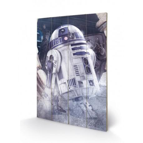 Cuadro Pequeño Madera 40X59 Star Wars The Last Jedi R2 D2 Droid