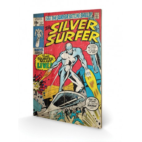 Cuadro Pequeño Madera 40X59 Silver Surfer Must Live