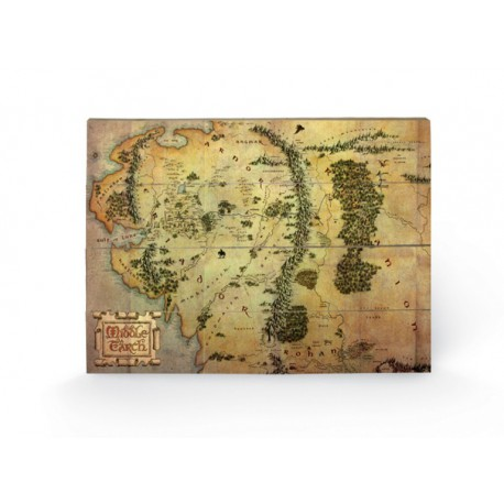 Cuadro Pequeño Madera 40X59 The Hobbit Journey Map